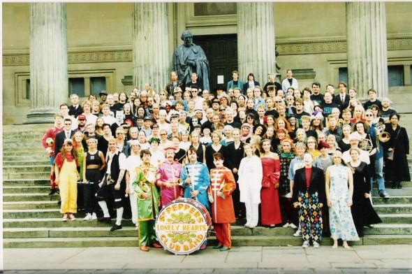 The full Sgt Pepper ensemble